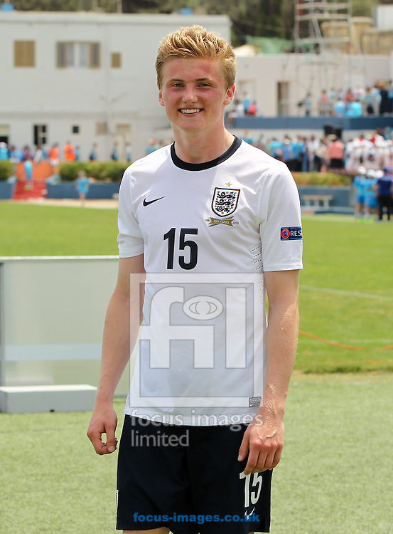 Taylor Moore of England is all smiles after his side win the 2014 UEFA European Under-17 match at Gozo Stadium, Xewkija<br /> Picture by Tom Smith/Focus Images Ltd 07545141164<br /> 12/05/2014