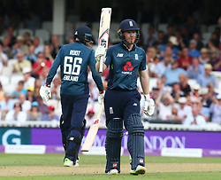 June 13, 2018 - London, England, United Kingdom - England's Eoin Morgan  celebrates his half Century.during One Day International Series match between England and Australia at Kia Oval Ground, London, England on 13 June 2018. (Credit Image: © Kieran Galvin/NurPhoto via ZUMA Press)