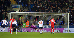 BOLTON, ENGLAND - Wednesday, February 4, 2015: Liverpool's goalkeeper Simon Mignolet is beaten by Bolton Wanderers' Eiour Guojohnsen [hidden] from the penalty spot for the opening goal during the FA Cup 4th Round Replay match at the Reebok Stadium. (Pic by David Rawcliffe/Propaganda)