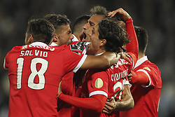 November 5, 2017 - Guimaraes, Guimaraes, Spain - Benfica's Brazilian forward Jonas celebrates after scoring goal with teammates during the Premier League 2017/18 match between Vitoria SC and SL Benfica, at Dao Afonso Henriques Stadium in Guimaraes on November 5, 2017. (Credit Image: © Dpi/NurPhoto via ZUMA Press)