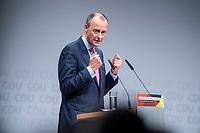 30 NOV 2018, BERLIN/GERMANY:<br /> Friedrich Merz, CDU, Rechtanwalt und ehem. stellv. CDU/CSU Fraktionsvorsitzender, haelt eine Rede, waehrend der Regionalkonferenz der CDU zur Vorstellung der Kandidaten fuer das Amt des Bundesvorsitzenden der CDU, Estrell Convention Center<br /> IMAGE: 20181130-01-012