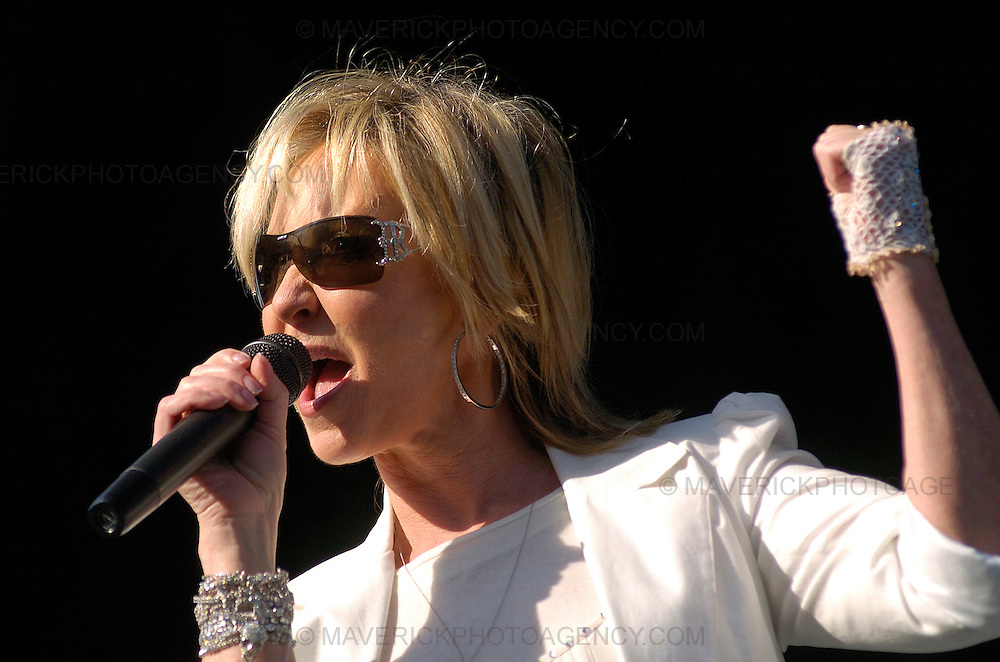 Singer Lulu performs as a support act to Elton John in a concert at Edinburgh's Easter Road Stadium.
