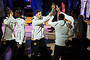 Golden State Warriors guard Klay Thompson (11) high fives teammates during pre-game ceremonies before taking on the Houston Rockets at Oracle Arena in Oakland, Calif., on October 17, 2017. (Stan Olszewski/Special to S.F. Examiner)