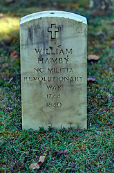 grave of North Carolina Militia of the Revolutionary War soldier William Hamby.  Marker is located in the cemetery at the Primitive Baptist Church in Cades Cove, Great Smoky Mountain National Park, Townsend TN.