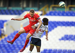 LONDON, ENGLAND - Friday, April 17, 2015: Liverpool's captain Conor Randall in action against Tottenham Hotspur's Josh Onomah during the Under 21 FA Premier League match at White Hart Lane. (Pic by David Rawcliffe/Propaganda)