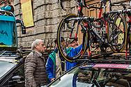 Elder fans check out team Bora-Argon 18 bikes before the start of Il Lombardia 2015 Bergamo - Como