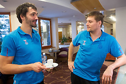 David Spiler and Marko Bezjak at training camp of Slovenian Handball National team before World Cup 2013 in Spain, on December 28, 2012 in Hotel Dobrava, Zrece, Slovenia. (Photo By Vid Ponikvar / Sportida.com)