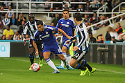 Chelsea FC Eden Hazard on the attack during the Barclays Premier League match between Newcastle United and Chelsea at St. James's Park, Newcastle, England on 26 September 2015. Photo by Craig McAllister.