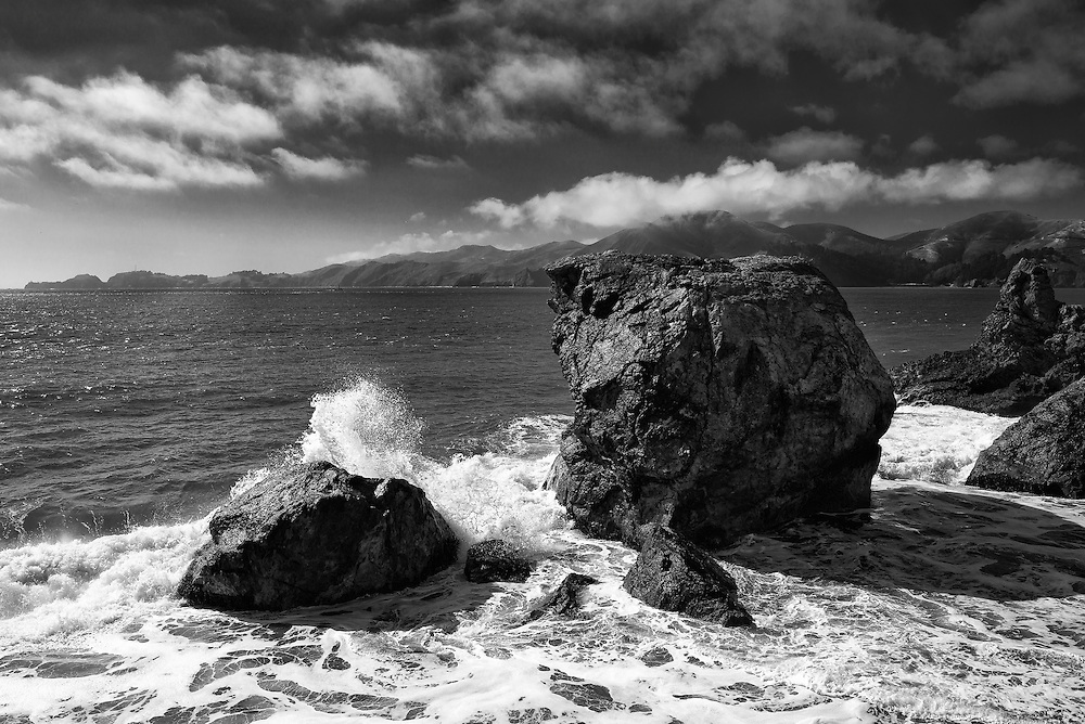 Waves crashing on Fort Point Rock.
