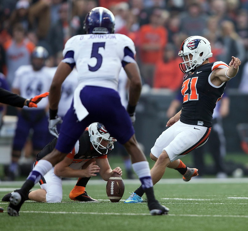 Oregon State kicker Garrett Owens kicks one of his four field goals during the Beavers' 26-7 victory over Weber State in the 2015 season opener in Reser Stadium, in Corvallis, on Friday, Sept. 4, 2015.