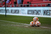 A pile of footballs, before the EFL Sky Bet Championship match between Bristol City and Birmingham City at Ashton Gate, Bristol, England on 7 May 2017. Photo by Andrew Lewis.