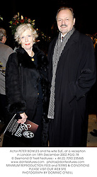 Actor PETER BOWLES and his wife SUE, at a reception in London on 18th December 2002.	PGG 78