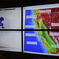 Monitors from the Berkeley Seismological Lab shows multiple aftershocks as seen from a recording station located in Berkeley, California, on Sunday, August 24, 2014. A 6.1 magnitude earthquake caused significant damage and left three critically injured in California's northern Bay Area early Sunday, igniting fires, sending at least 87 people to a hospital, knocking out power to tens of thousands and sending residents running out of their homes in the darkness. Aftershocks are still being captured across the area by seismometers that are recording seismic data. (AP Photo/Alex Menendez)