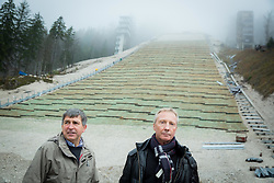 Jelko Gros of Zavod za sport Planica and FIS Ski Jumping Race Director Walter Hofer at visit of FIS representatives to inspect reconstruction of Planica's Ski Flying Hill, on November 11, 2014 in Planica Nordic centre, Slovenia. Photo by Vid Ponikvar / Sportida