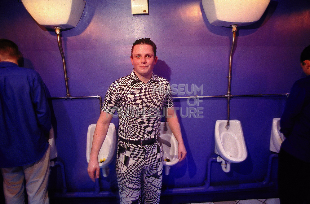 Bloke in the toilets Op-Art outfit Frisky 2nd Brirthday at Ministry of Sound February 1998