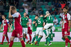 Players of Olimpija celebrate after Leon Benko of NK Olimpija scored first goal during football match between NK Aluminij and NK Olimpija Ljubljana in the Final of Slovenian Football Cup 2017/18, on May 30, 2018 in SRC Stozice, Ljubljana, Slovenia. Photo by Vid Ponikvar / Sportida