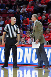 NORMAL, IL - November 13: Kipp Kissinger and Dan Muller have an amusing conversation during a college basketball game between the ISU Redbirds  and the Chicago State Cougars on November 13 2018 at Redbird Arena in Normal, IL. (Photo by Alan Look)