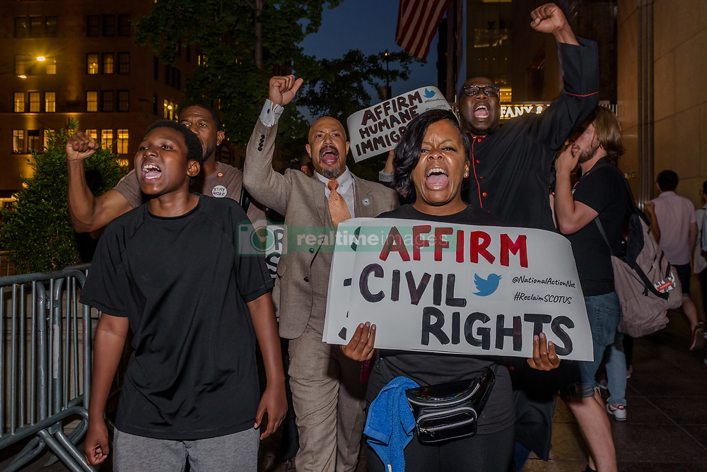 July 9, 2018 - New York, New York, United States - National Action Network (NAN) leadership and leading activists commited an act non violent civil disobedience outside Trump Tower in New York on July 9, 2018, resisting Trump SCOTUS nominee from day one and call on Senator Chuck Schumer and the Democrats to hold the Line at all costs. (Credit Image: © Erik Mcgregor/Pacific Press via ZUMA Wire)