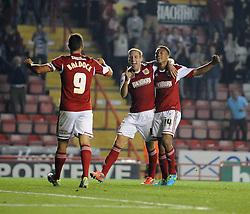 Bristol City's Scott Wagstaff celebrates with his team mates after scoring.  - Photo mandatory by-line: Dougie Allward/JMP - Tel: Mobile: 07966 386802 27/08/2013 - SPORT - FOOTBALL - Ashton Gate - Bristol - Bristol City V Crystal Palace -  Capital One Cup - Round 2