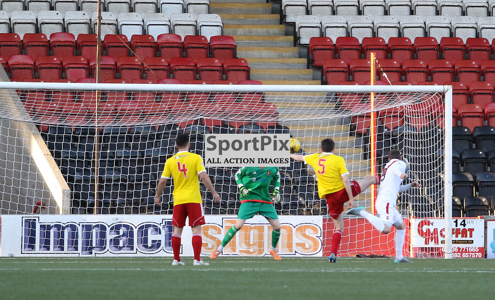 Airdrie's Bryan Prunty fires in the opening goal during the Airdrieonians FC V Albion Rovers FC Scottish League One 31st October 2015 ©Edward Linton | SportPix.org.uk