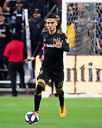 LAFC midfielder Eduard Atuesta (20) during a MLS soccer match against Sporting KC in Los Angeles, Sunday, March 3, 2019. LAFC defeated Sporting KC, 2-1. (Ed Ruvalcaba/Image of Sport)