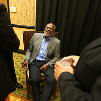 Adam Robison | BUY AT PHOTOS.DJOURNAL.COM<br /> Actor John Amos, the Guest of Honor, at the fourth annual Our Mississippi Honors Gala, visits with attendees during a meet and greet prior to the Gala at the BancorpSouth Conference Center in Tupelo Saturday night.