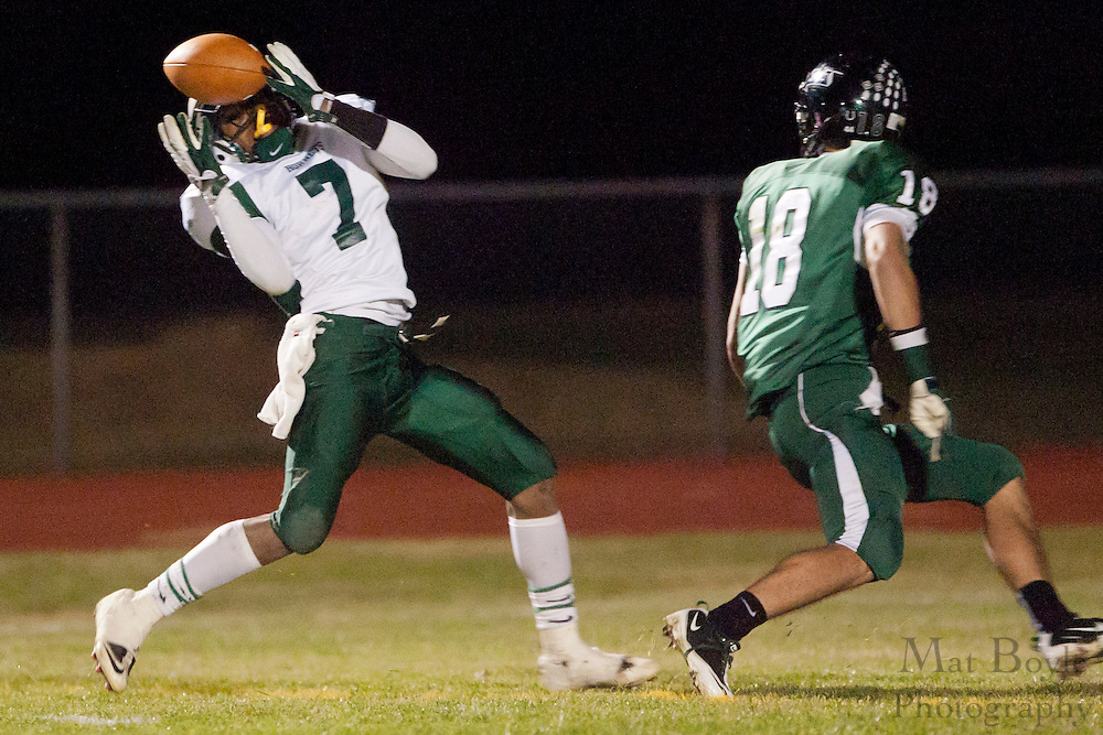 Pemberton High School's Devan Parler (7) intercepts a pass intended for West Deptford High School's Tommy Jakubowski (18)during a Group 2 first round playoff game at West Deptford High School on Friday November 11, 2011. (photo / Mat Boyle)