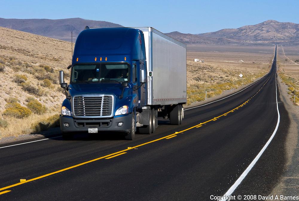 Truck on highway, Nevada