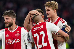 08-05-2019 NED: Semi Final Champions League AFC Ajax - Tottenham Hotspur, Amsterdam<br /> After a dramatic ending, Ajax has not been able to reach the final of the Champions League. In the final second Tottenham Hotspur scored 3-2 / Hakim Ziyech #22 of Ajax scores 2-0, Lasse Schone #20 of Ajax, Matthijs de Ligt #4 of Ajax