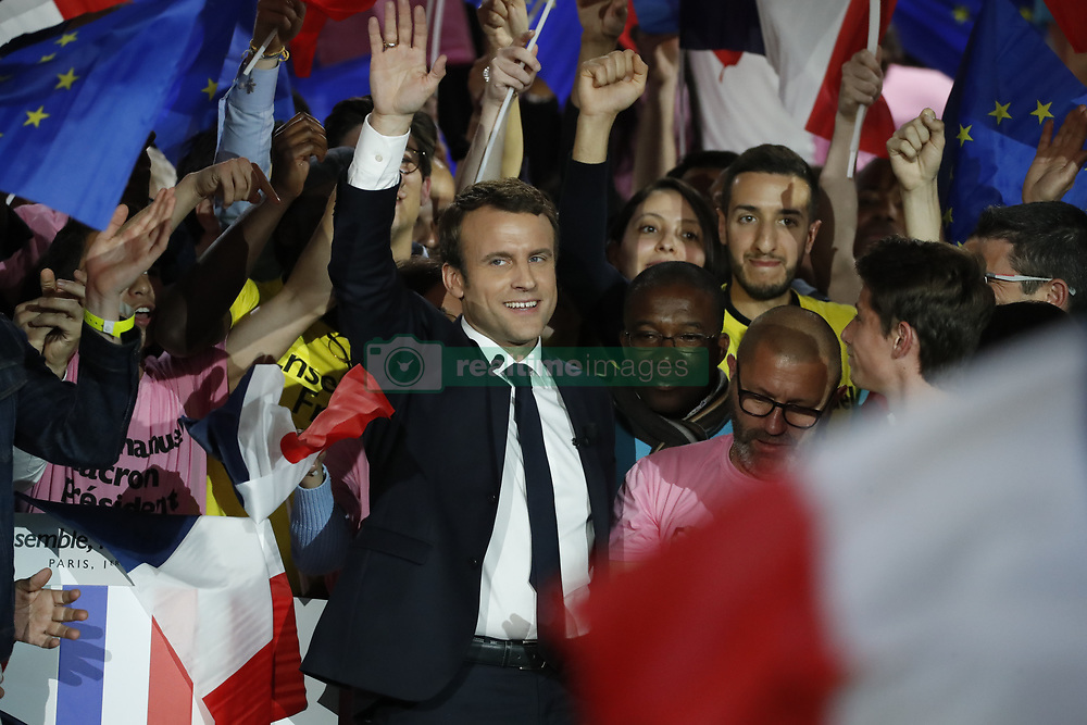Presidential Candidate Emmanuel Macron addresses voters during a political meeting at Paris Event Center on May 1, 2017 in Paris, France. Emmanuel Macron faces President of the National Front, Marine Le Pen in the final round of the French presidential elections on May 07. Photo by Henri Szwarc/ABACAPRESS.COM