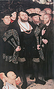 Martin Luther (1483-1546) German Protestant reformer, left, with John Oecolampadius, John Frederick the Magnanimous, Elector of Ernestine Saxony (one of Luther's protectors), Huldriech Zwingli and Philip Melancthon. After picture by Luther Cranch c1530.