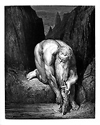 The Giant Antaeus lowering Dante and Virgil, From the Divine Comedy by 14th century Italian poet Dante Alighieri. 1860 artwork, by French artist Gustave Dore and engraved by Stephane Pannemaker, from 'The Vision of Hell' (1868), Cary's English translation of the Inferno. Dante wrote his epic poem 'Divina Commedia' (The Divine Comedy) between 1308 and his death in 1321. Consisting of 14,233 lines, and divided into three parts (Inferno, Purgatorio, and Paradiso), it is considered the greatest literary work in the Italian language and a world masterpiece. It is a comprehensive survey of medieval theology, literature and thought. The new non-dialect poetic language Dante created became the basis of modern Italian.