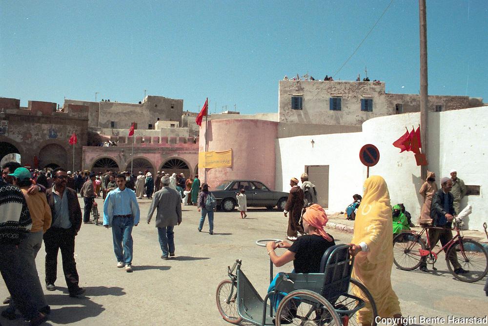 byporten Essaouira, Marokko. Under regragua, en muslimsk fest..neg