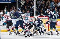 KELOWNA, CANADA - APRIL 3: Ryan Olsen #27 and Rourke Chartier #14 of the Kelowna Rockets celebrate a goal against the Seattle Thunderbirds on April 3, 2014 during Game 1 of the second round of WHL Playoffs at Prospera Place in Kelowna, British Columbia, Canada.   (Photo by Marissa Baecker/Getty Images)  *** Local Caption *** Ryan Olsen; Rourke Chartier;