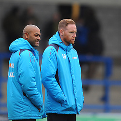 TELFORD COPYRIGHT MIKE SHERIDAN 5/1/2019 - Gavin Cowan and assistant Phil Trainer during the Vanarama Conference North fixture between AFC Telford United and Spennymoor Town.
