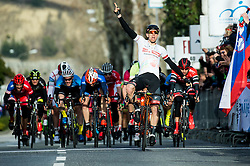 Winner FORTIN Filippo (ITA)  of Tirol Cycling Team celebrates at finish line during the UCI Class 1.2 professional race 4th Grand Prix Izola, on February 26, 2017 in Stunjan, Slovenia. Photo by Vid Ponikvar / Sportida