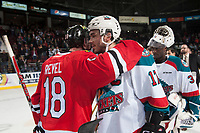 KELOWNA, CANADA - APRIL 14: Matt Revel #18 of the Portland Winterhawks congratulates Rodney Southam #17 of the Kelowna Rockets on the win and the series on April 14, 2017 at Prospera Place in Kelowna, British Columbia, Canada.  (Photo by Marissa Baecker/Shoot the Breeze)  *** Local Caption ***