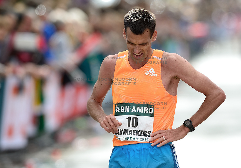13-04-2014 NED: Marathon van Rotterdam<br /> Een teleurgestelde Koen Raymaekers na zijn race op de 42 kilometer en 195 meters