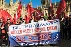 2017-02-07 Striking BA cabin crew demonstrate outside Parliament for fairer pay deal