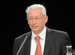 Karel De Boeck, chief executive officer of Fortis Holding, speaks during an extraordinary shareholders meeting in Brussels, Belgium, on Friday, Dec. 19, 2008. Fortis, the insurer that was once Belgium?s largest financial-services firm, clashed with some investors at a meeting in Brussels by sticking to an agreement to sell the Belgian insurance business to BNP Paribas SA. (Photo © Jock Fistick)