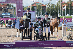 Hext Suzanna, GBR, Schmidt Claudia, GER, Frances Orford Erin, GBR<br /> FEI European Para Dressage Championships - Goteborg 2017 <br /> © Hippo Foto - Dirk Caremans<br /> 22/08/2017,