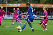 AFC Wimbledon midfielder Anthony Wordsworth (40) crossing the ball during the EFL Sky Bet League 1 match between AFC Wimbledon and Rochdale at the Cherry Red Records Stadium, Kingston, England on 5 October 2019.