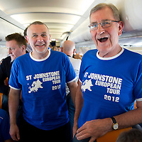 St Johnstone v Eskisehirspor....18.07.12  Uefa Cup Qualifyer<br /> Mark Taylor from Perth (left) and Hamish Henderson from John o'Groats on the flight over to Turkey<br /> Picture by Graeme Hart.<br /> Copyright Perthshire Picture Agency<br /> Tel: 01738 623350  Mobile: 07990 594431