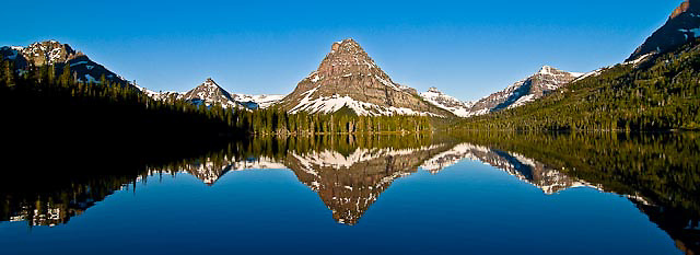 calm spring day glacier national park, sinopah mountain, crown of the continent, montana, usa, panoramic