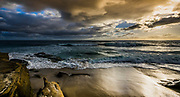 Moody Sky At Windansea Beach During Sunset In La Jolla