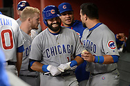Aug 11, 2017; Phoenix, AZ, USA; Chicago Cubs catcher Alex Avila (13) is congratulated in the dugout after hitting a solo home run in the sixth inning of the MLB game against the Arizona Diamondbacks at Chase Field. Mandatory Credit: Jennifer Stewart-USA TODAY Sports
