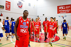 Daniel Edozie of Bristol Flyers looks frustrated after USA Select claim a narrow overtime victory - Mandatory byline: Rogan Thomson/JMP - 07966 386802 - 10/09/2015 - BASKETBALL - SGS Wise Arena - Bristol, England - Bristol Flyers v USA Select.