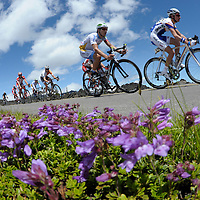 The lead riders make their way towards Sisters shortly after reaching the summit while competing Stage 1 of the Bend Memorial Clinic Cascade Cycling Classic on Wednesday. The event continues today at 10 a.m. with a 14 mile time-trial leaving from Summit High School west toward Tumalo Falls on Skyliners Road.