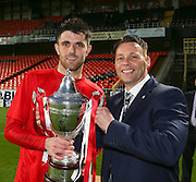 Gordon Deuchars of sponsors GA Engineering presents the trophy to Tayport captain Grant Lawson after Tayport beat North End 4-1 in the GA Engineering Cup Final at Tannadice<br /> <br />  - &copy; David Young - www.davidyoungphoto.co.uk - email: davidyoungphoto@gmail.com