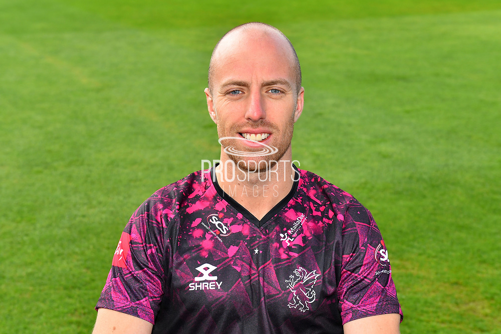 Head shot of Jack Leach in the Vitality Blast kit during the 2019 media day at Somerset County Cricket Club at the Cooper Associates County Ground, Taunton, United Kingdom on 2 April 2019.